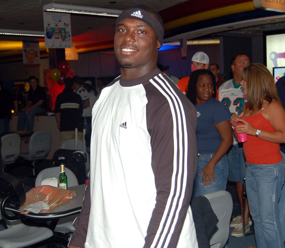Miami Dolphins running back Ronnie Brown at teammate Randy McMichael's charity bowling event at Don Carter Lanes in Pembroke Pines, Fla.