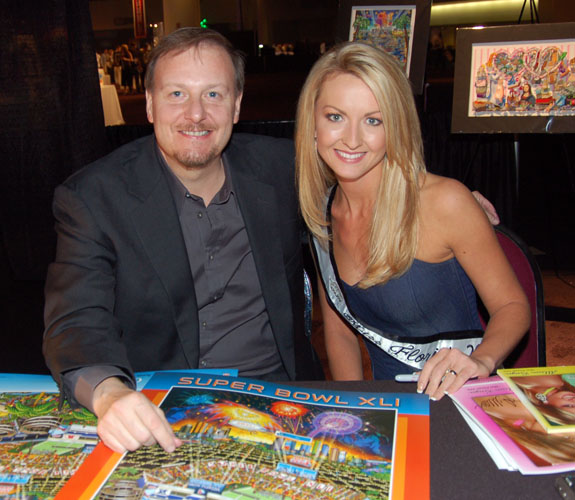 Pop artist Charles Fazzino with Miss Florida Allison Kreiger at Taste of the NFL on the eve of Super Bowl XLI at the Broward Convention Center.